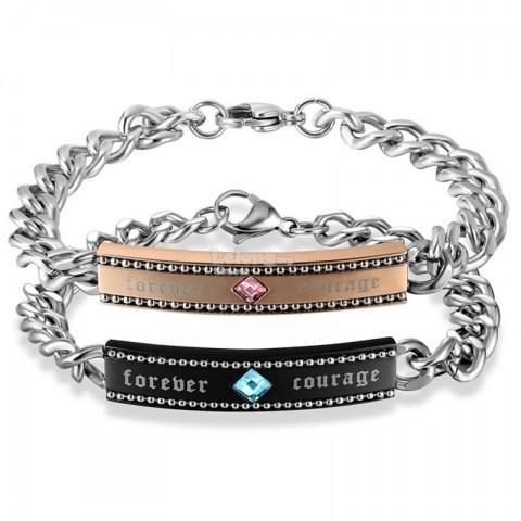 Color Rhombus Diamond Embellished Couple's Bracelet