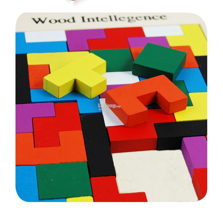 Colored wooden building blocks educational toys