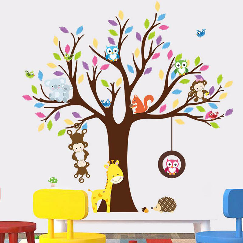 colorful 3d animals tree wall sticke (end 3/28/2019 6:39 am)
