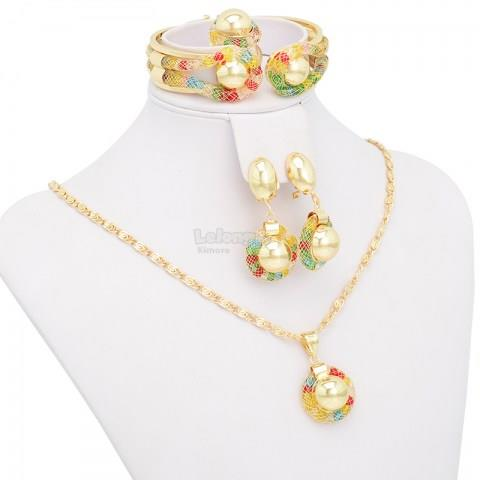 Colorful Beads Pendant Jewelry Set