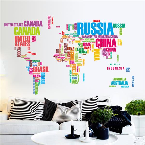 Colorful letters world map wall stick end 9 6 2018 7 15 pm for Living room 7 letters