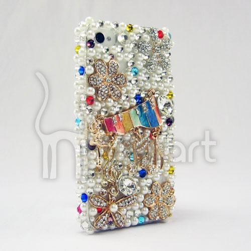 Colorful Music Notes handmade AA rhinestone Apple IPHONE 4/4S Case