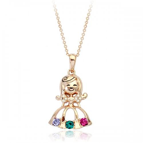 Colorful swarovski crystal little gir end 142016 615 pm colorful swarovski crystal little girl pendant necklace in pink gold aloadofball Images