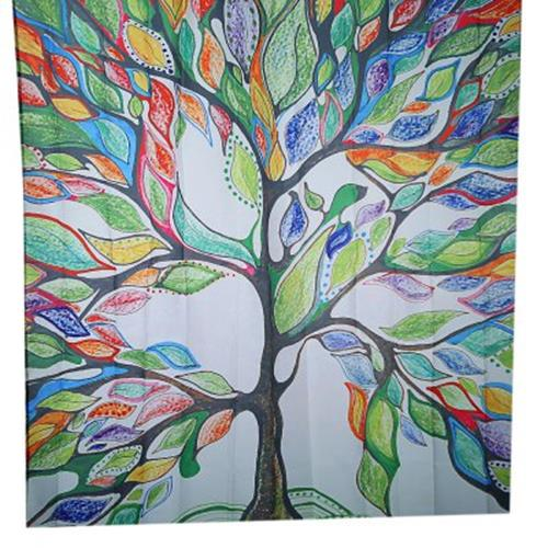 COLORFUL TREE DESIGN PATTERN WATERPROOF POLYESTER BATH CURTAIN WITH 12 PLASTIC