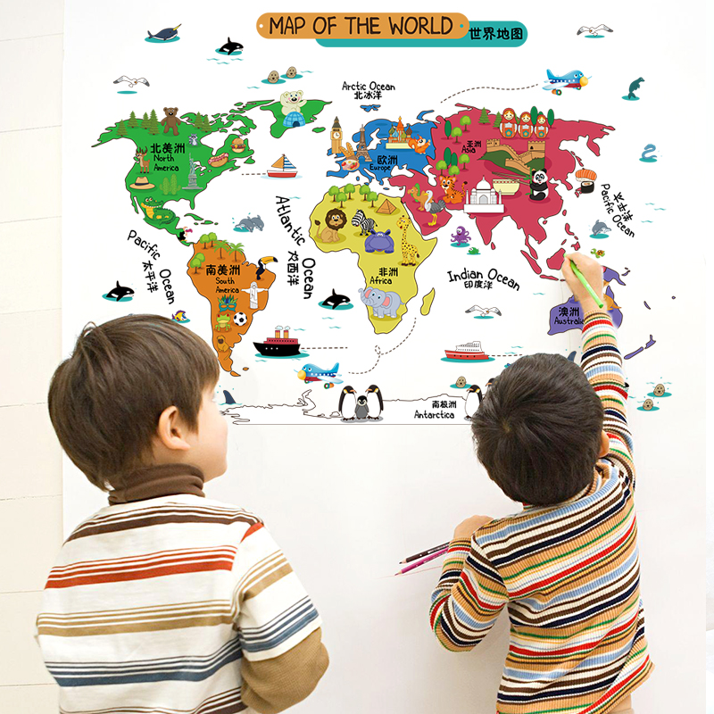 Colorful world map wall sticker for end 9192018 100 am colorful world map wall sticker for baby room removable cute aniaml wa gumiabroncs Gallery