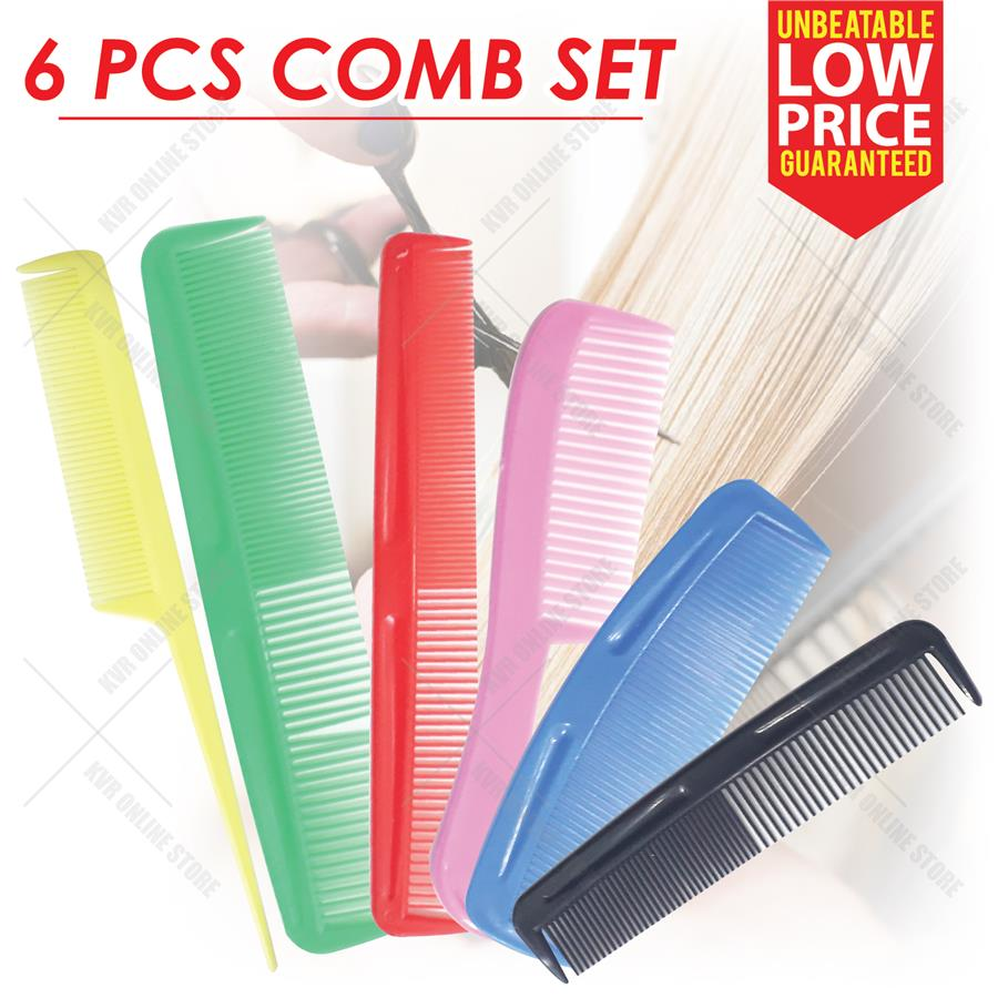 Colourful Professional Combo Kit 6pc Comb Hair Cutting Set Hairdresser