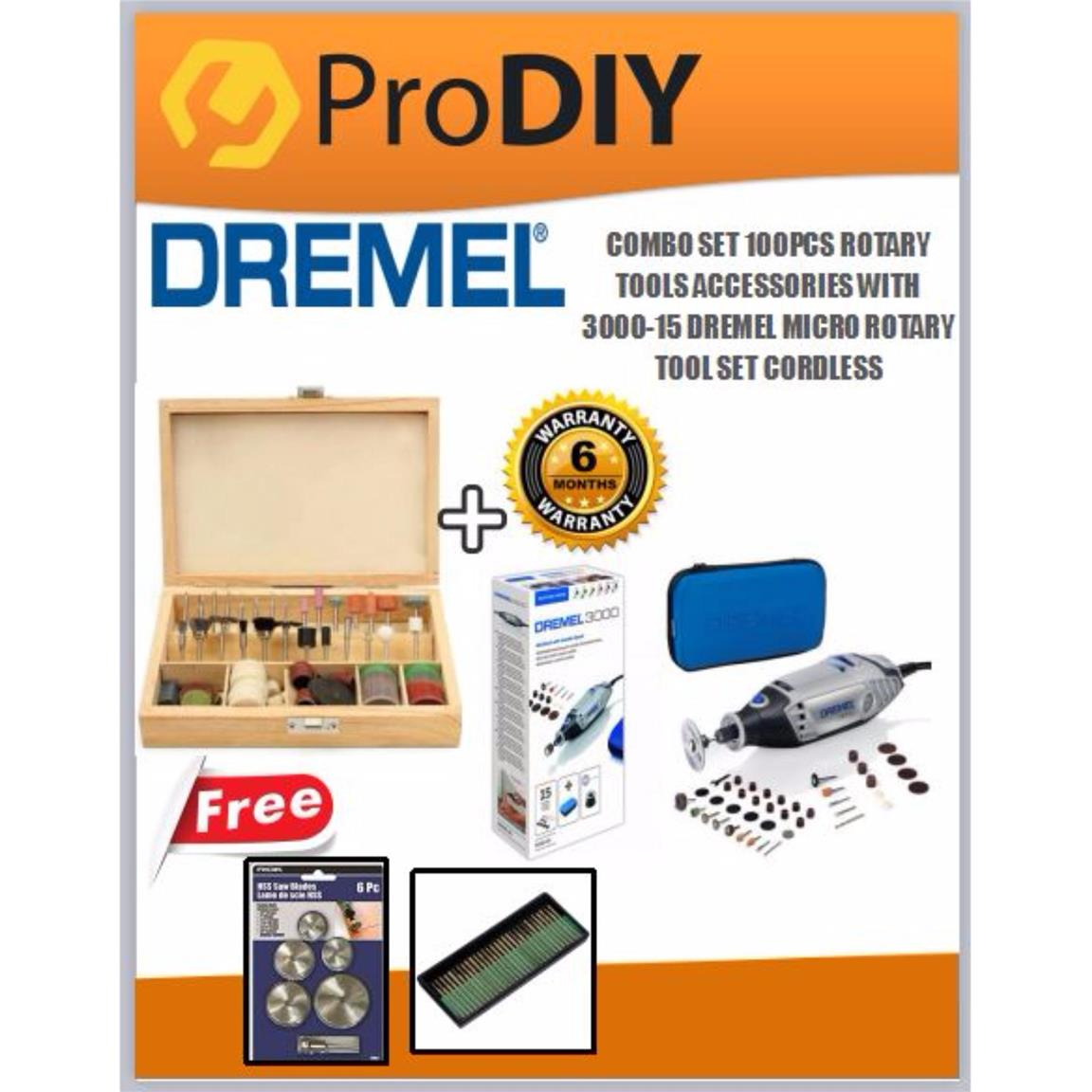 COMBO SET 100PCS ROTARY TOOLS ACCESSORIES WITH 3000-15 DREMEL SET