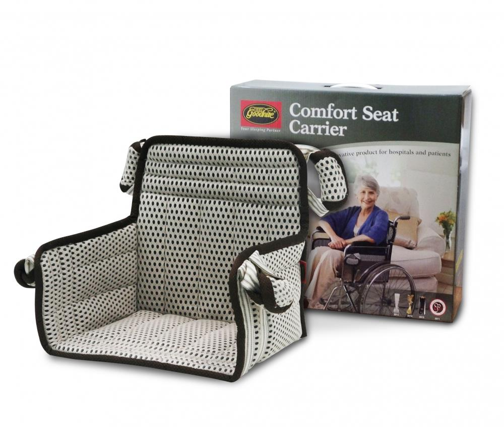 Comfort seat carrier transfer from hospital bed into car or wheelchair