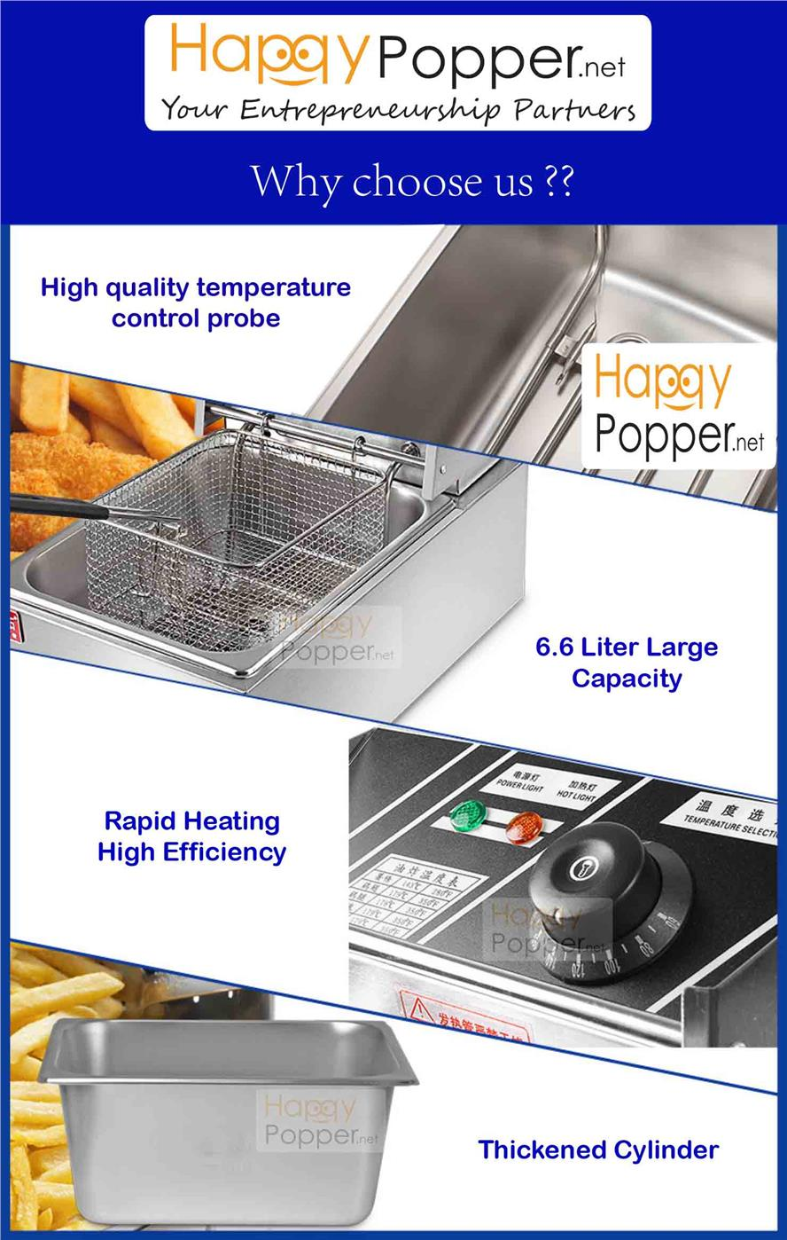 Commercial fully stainless steel deep fryer 6L single electric