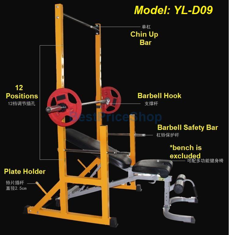 Commercial Grade Half Cage Smith Machine Squat Rack Chin Up Tower D09