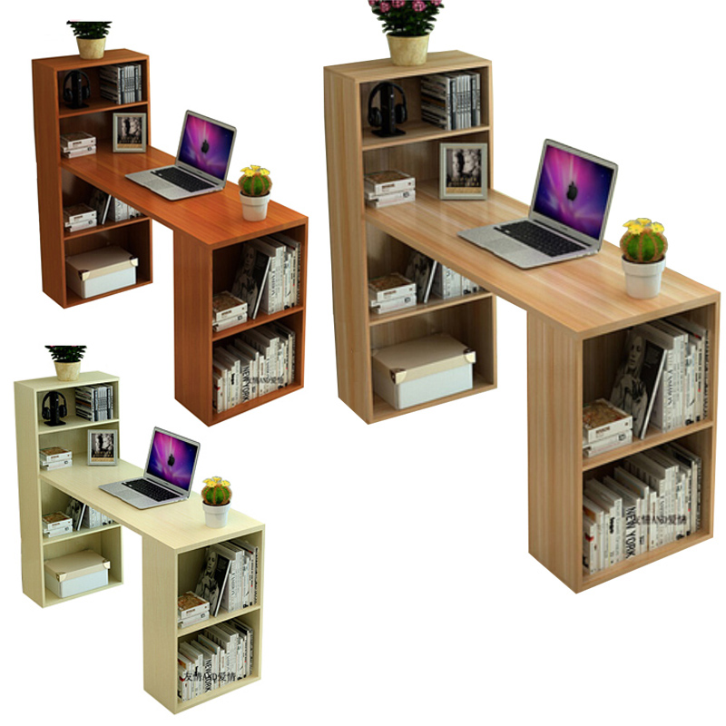 Compact Computer Desk Executive Table With Bookshelf Study