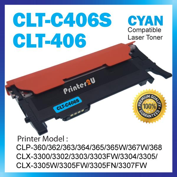 Compatible CLT-K406 Cyan Color CLP-360 362 363 364 365 365W 367W 368