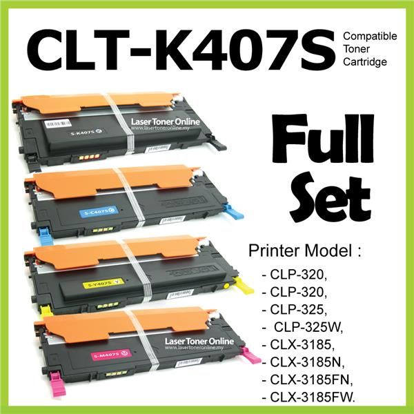 Compatible CLT-K407S 407s Color CLP-320 325 320N 325W CLX3185 Full Set