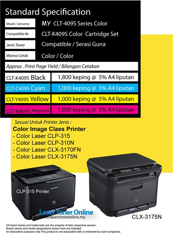 Compatible CLT-K409S 409 CLP-315 310N 3170FN 3175n Color Laser Printer