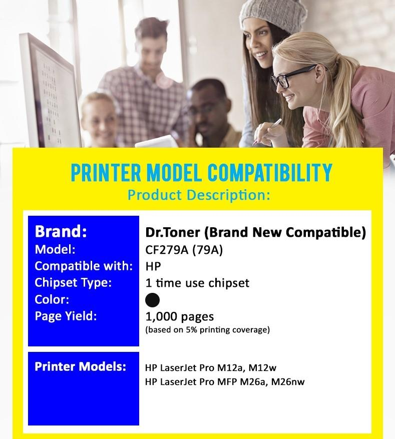 Compatible DrToner HP - CF279A - 79A - (Mono/Black) x5 units