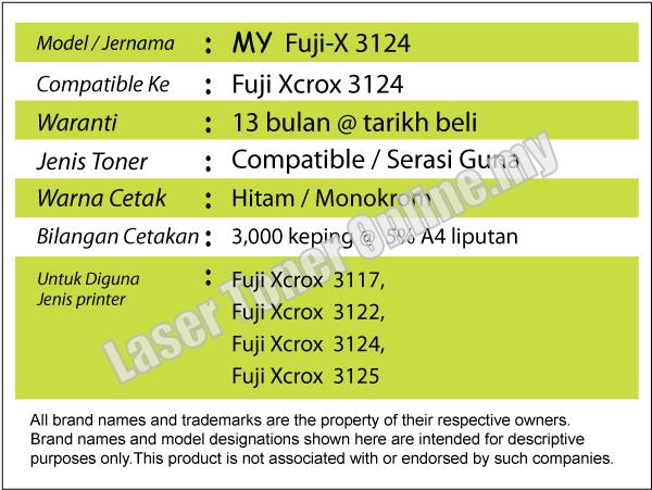 Compatible Fuji Xerox Phaser P3117 P3122 P3124 P3125 Laser CWAA0759