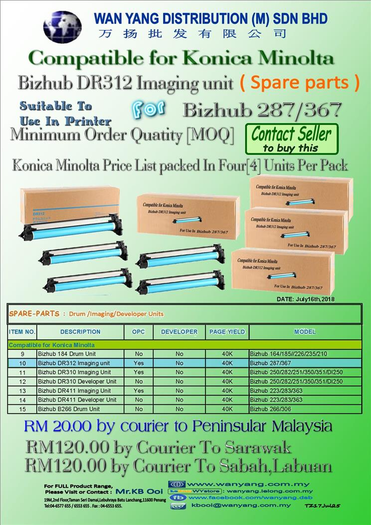 Compatible for Konica Minolta-Bizhub 287/367