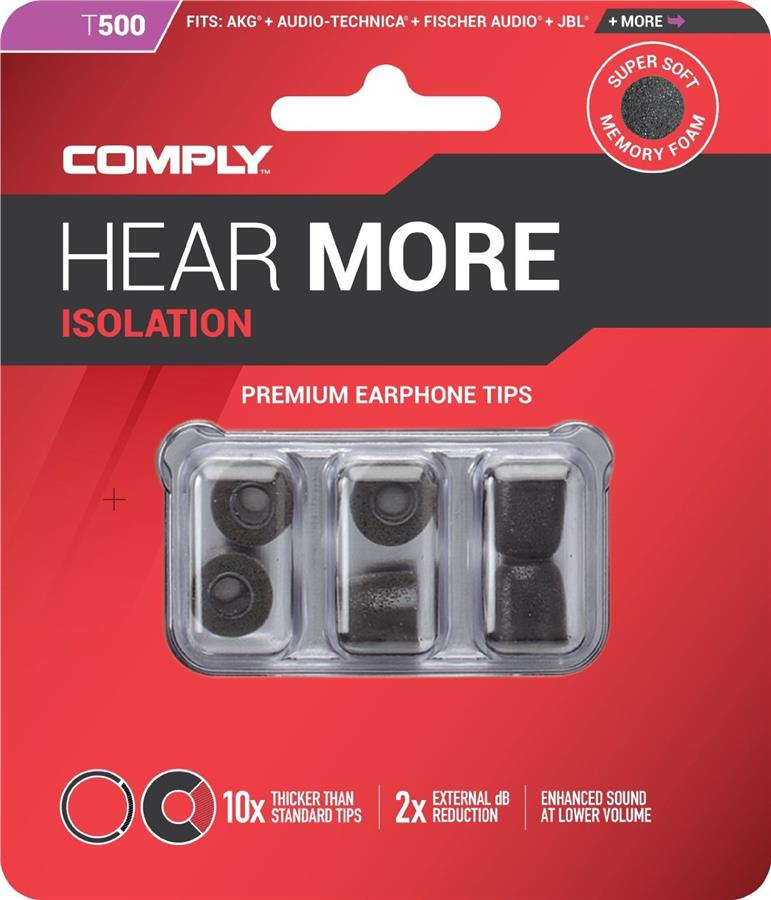 Comply Isolation Foam Earphone Tips T-500 / T500 3 Pair