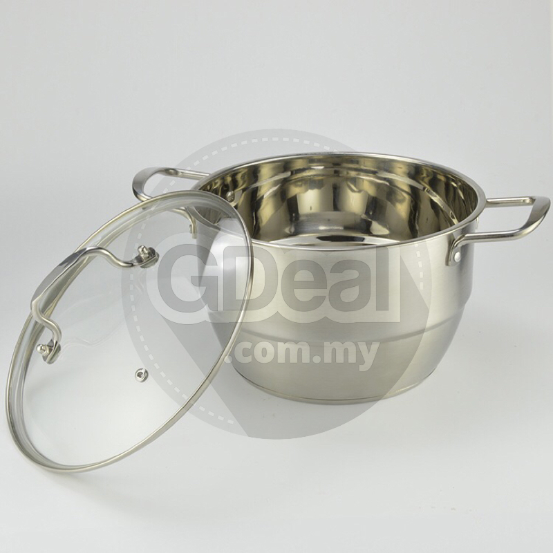 Composite Cookware Stainless Steel 24cm Steamer Pot With Glass Lid