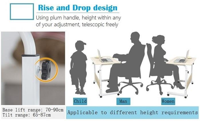 Computer Laptop Table Height Adjust With Wheel Study Desk Table 80x40