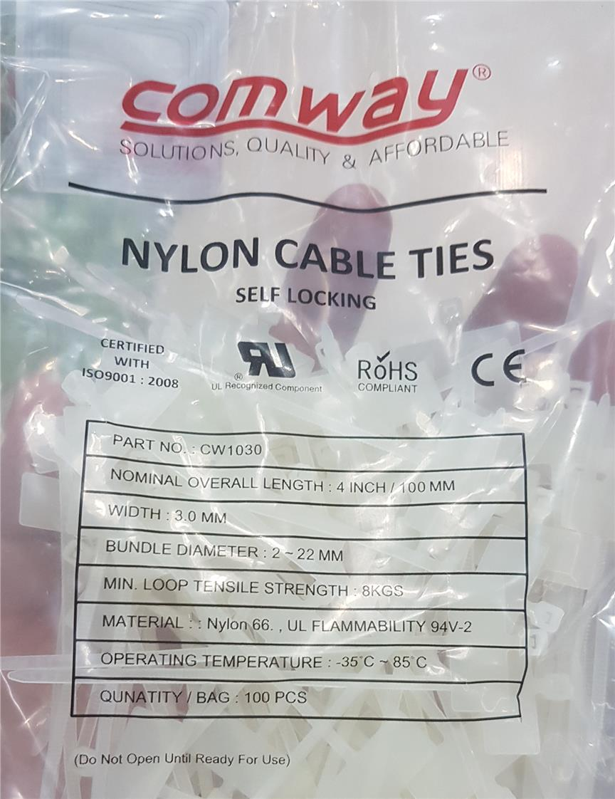 COMWAY NYLON CABLE TIES 4' WITH MARKER 100PCS (OT163)