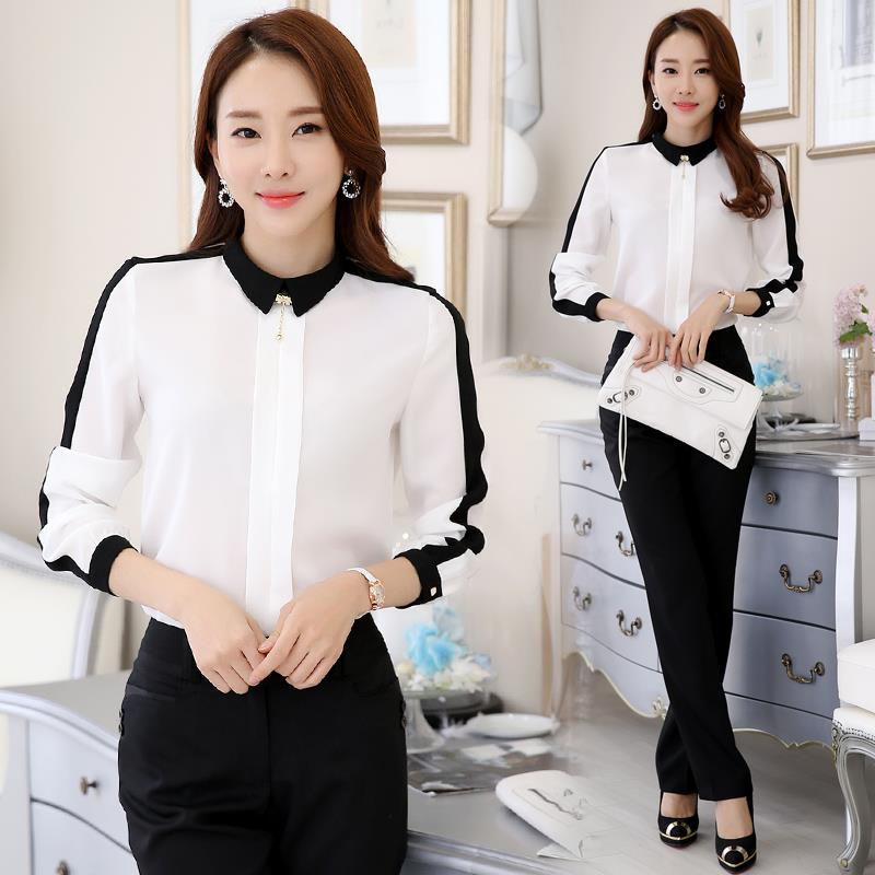 Contrast Black & White Blouse Long-Sleeve Ladies Working Shirt