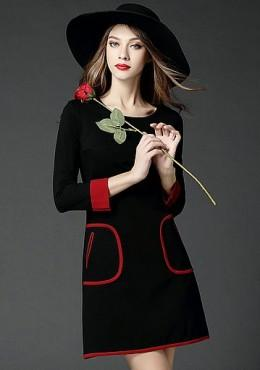 Contrast Long Sleeves Mini Dress (iKR053754)