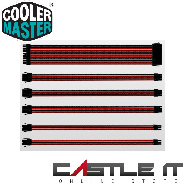 COOLER MASTER EXTENSION CONNECTOR SLEEVE CABLE SET 300MM (BLACK/RED)(C