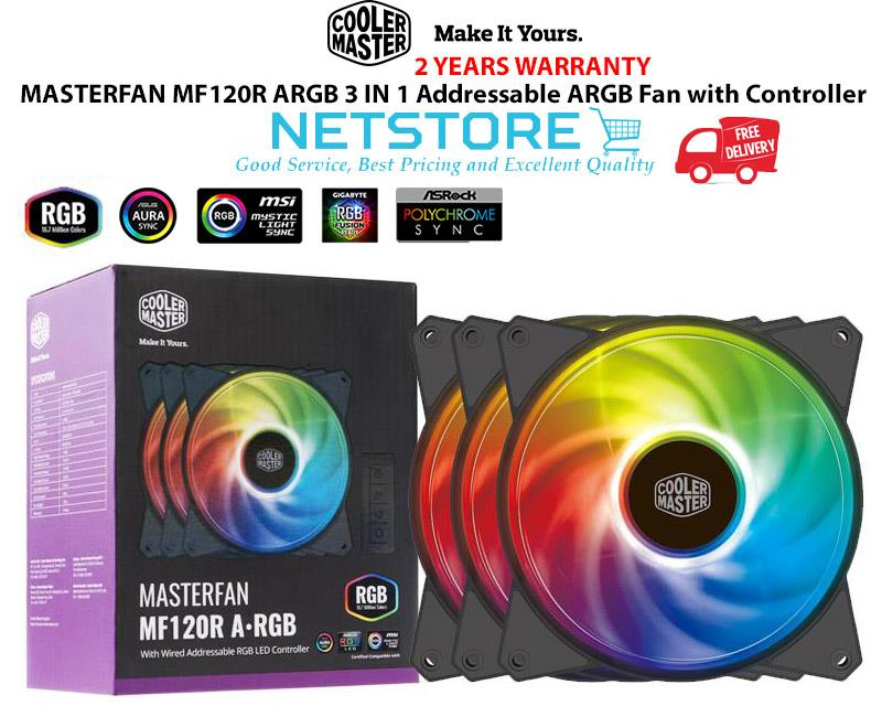 COOLER MASTER MASTERFAN MF120R ARGB 3 In 1 Addressable RGB Fan