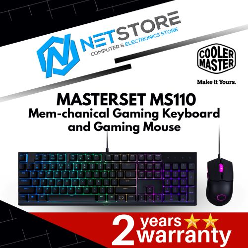 COOLER MASTER MASTERSET MS110 MEM-CHANICAL GAMING KEYBOARD AND MOUSE