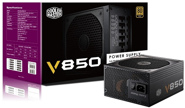 COOLER MASTER V850 GOLD 850W POWER SUPPLY (RS-850-AFBA-G1-UK) 80+G/SM