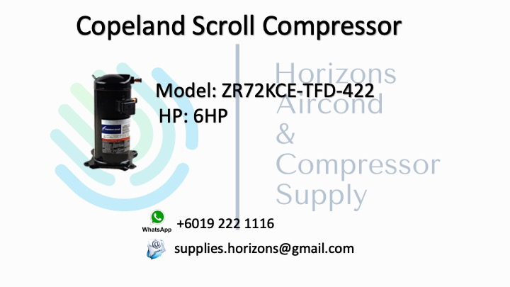 COPELAND SCROLL COMPRESSOR ZR72KCE-TFD-422
