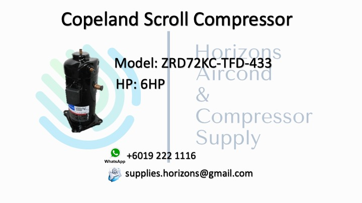 COPELAND SCROLL COMPRESSOR ZRD72KC-TFD-433