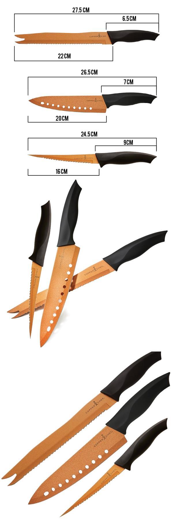 Copper Chef Ever Sharp Knife Set 3 Piece Non Stick Kitchen Cutlery