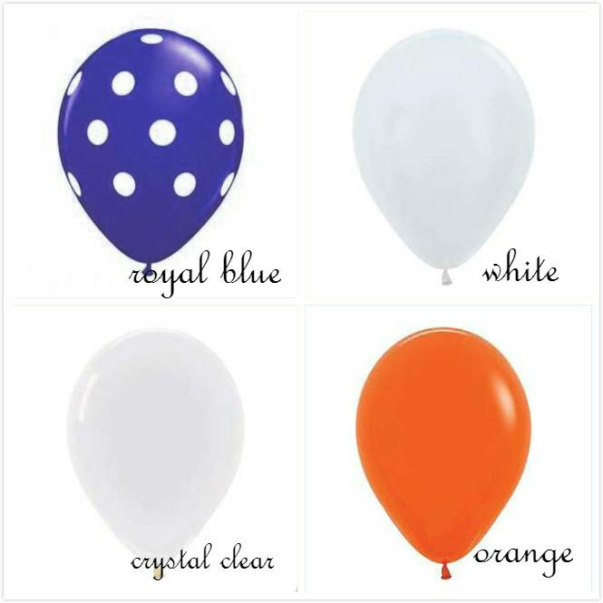 Coral Reef Polka Blue Orange Balloon Match Set 12ct