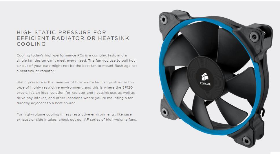 Corsair Air Series SP120 Quiet High Static Pressure 120mm Fan Twin Pac