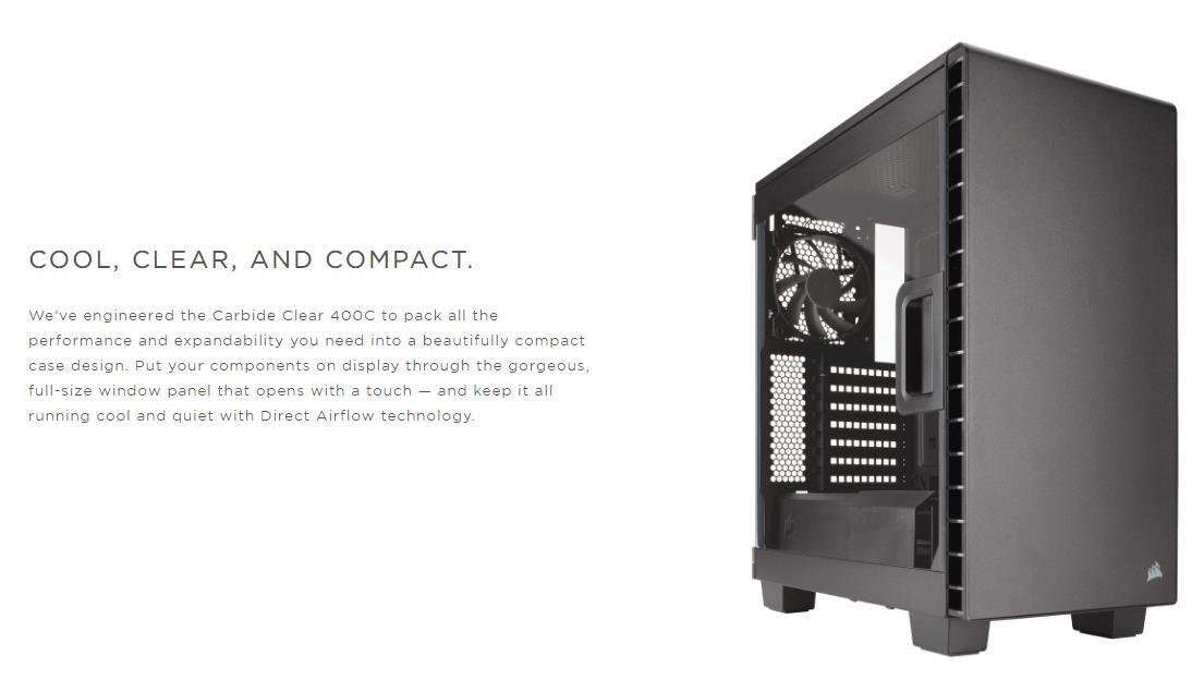 reputable site c05a5 30319 Corsair Carbide Series Clear 400C Compact Mid Tower PC Case - Black