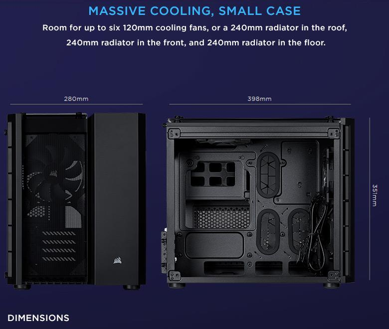 Corsair Crystal Series 280X Tempered Glass TG Micro ATX PC Case Black