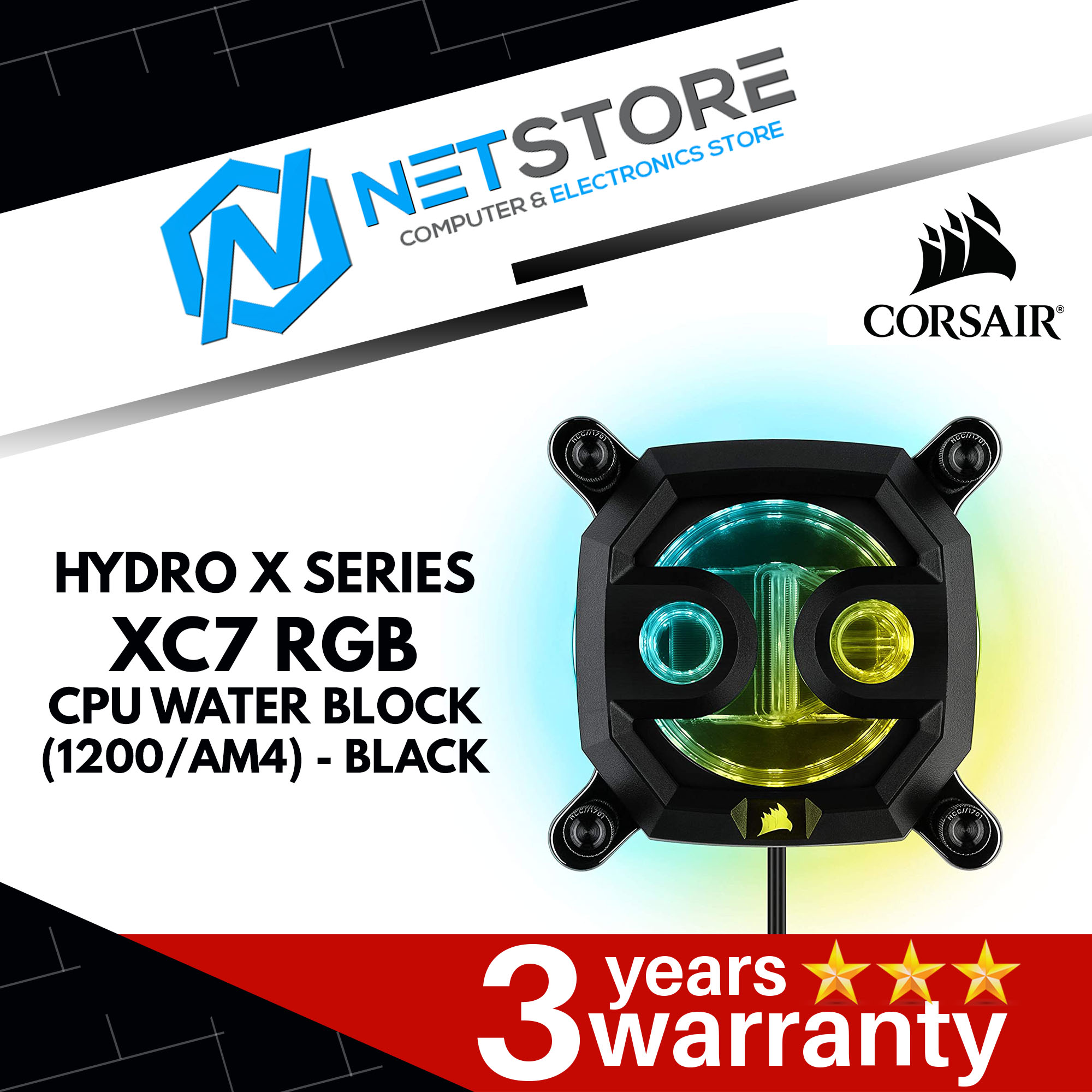 CORSAIR HYDRO X SERIES XC7 RGB CPU WATERBLOCK (1200/AM4) - BLACK