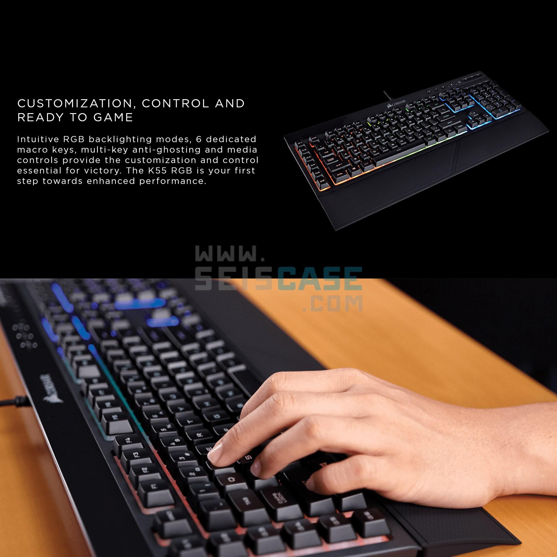 CORSAIR K55 RGB Gaming Keyboard 6 Macros Key Volume Multimedia Control