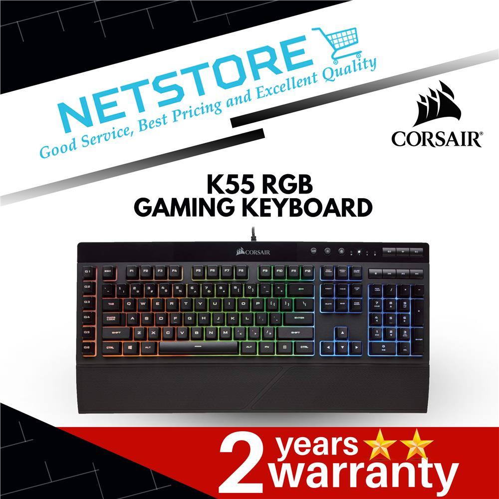 Corsair K55 RGB Gaming Keyboard - Quiet & Satisfying LED Backlit Keys