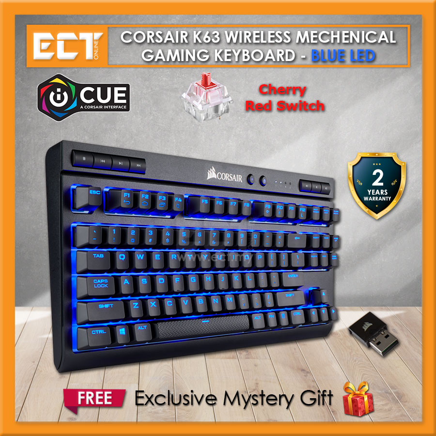 Corsair K63 Wireless Mechanical Gaming Keyboard With Blue LED - Cherry ® M