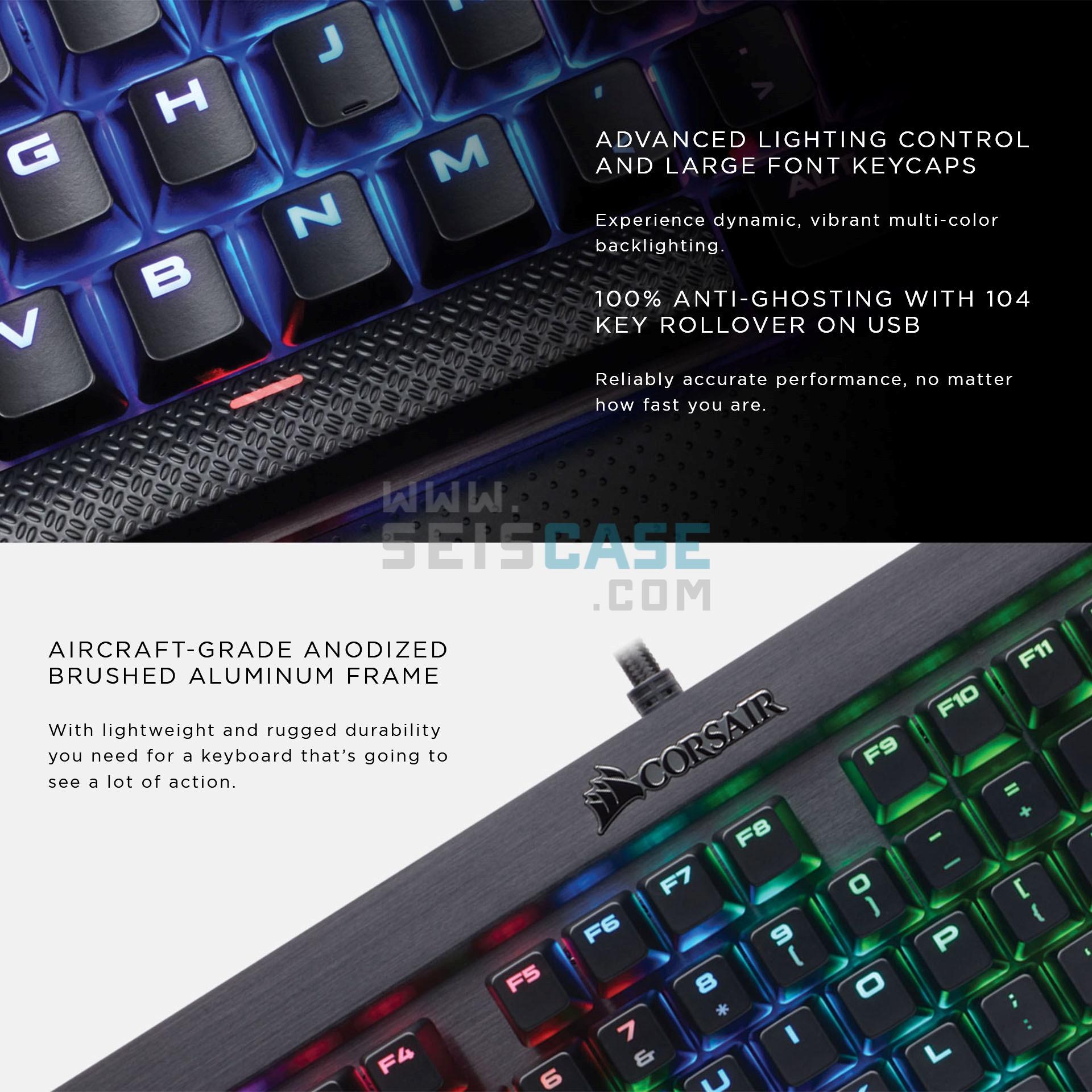 CORSAIR K70 RGB LUX Mechanical Gaming Keyboard Cherry MX Blue Silent