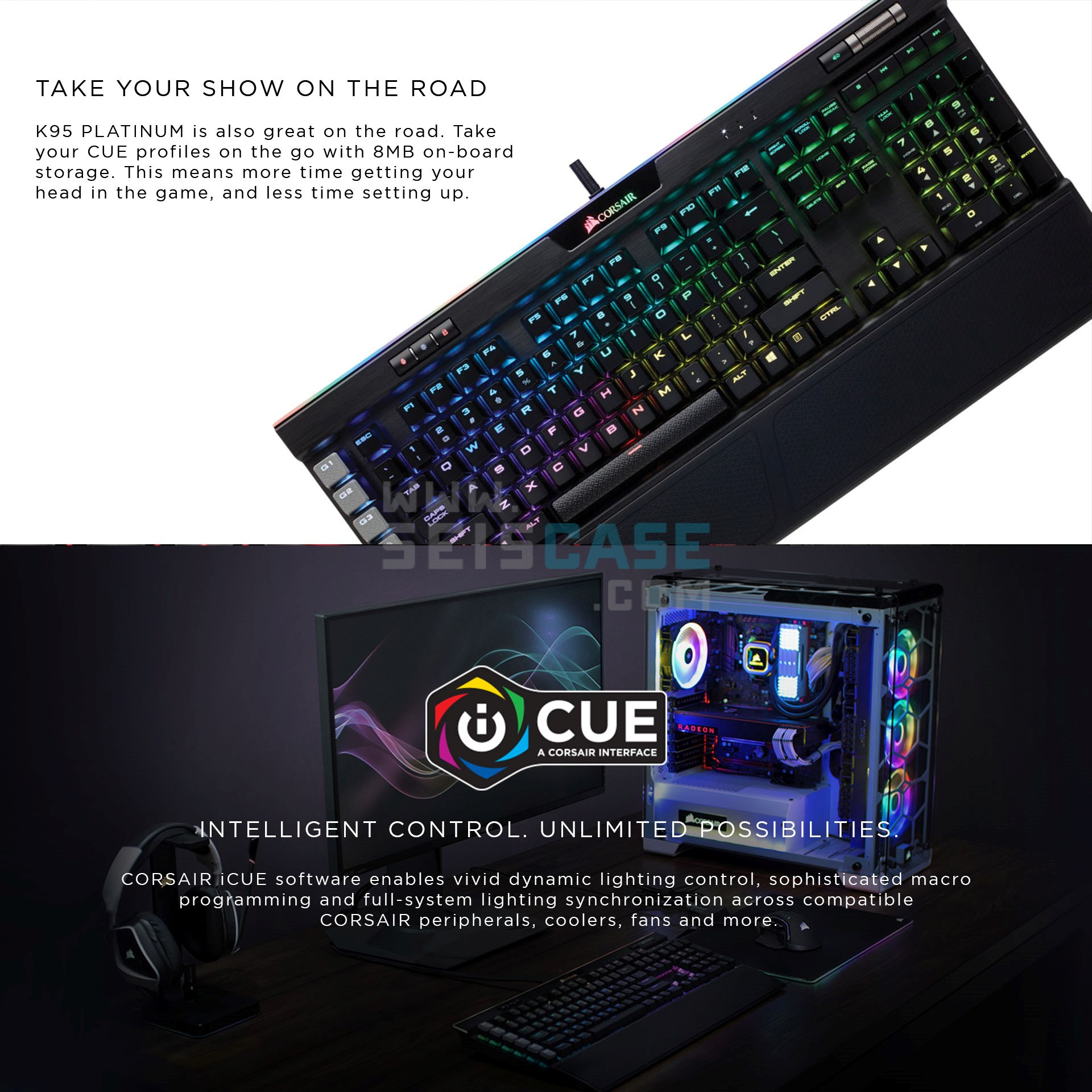 CORSAIR K95 Platinum RGB Mechanical Keyboard Cherry MX Brown Speed