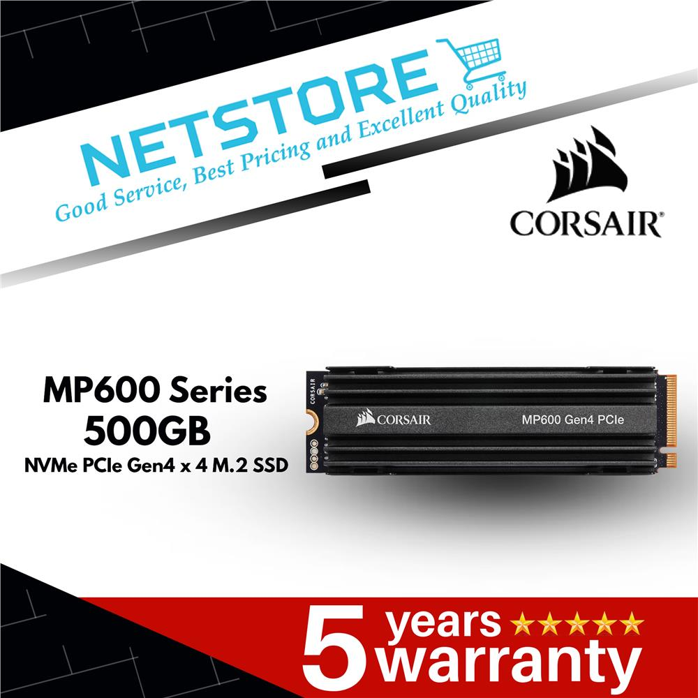 CORSAIR MP600 SERIES NVMe PCIe Gen4 x 4 M.2 500GB - CSSD-F500GBMP600