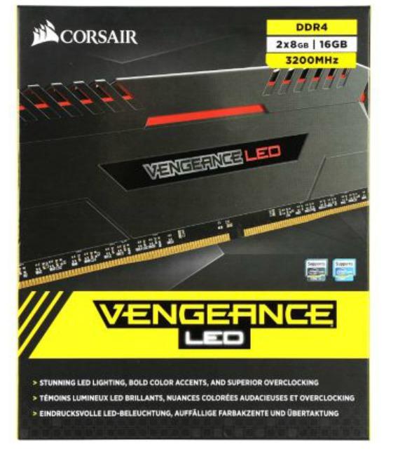 CORSAIR RAM DDR4 VENGEANCE LED 2X 16GB PC3200 CMU16GX4M2C3200C16R RED