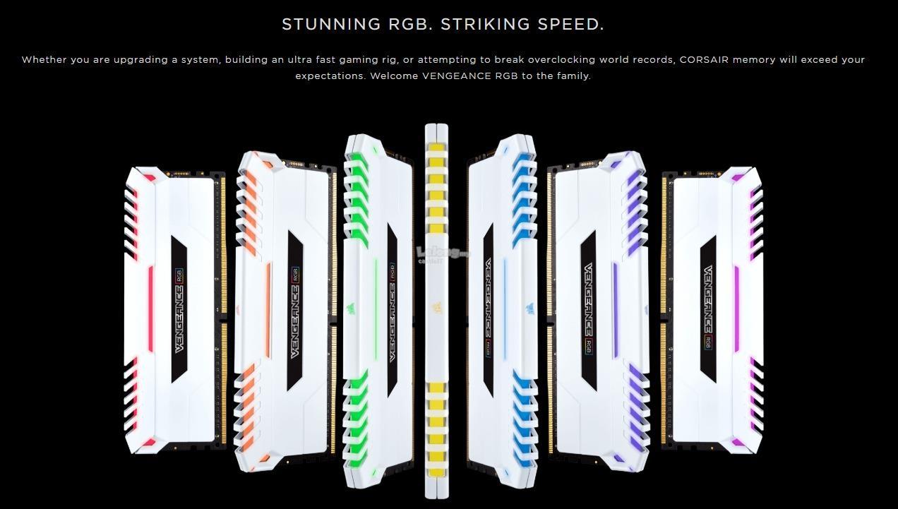 CORSAIR RAM DDR4 VENGEANCE RGB 2X 32GB PC3200 WHT CMR32GX4M2C3200C16W