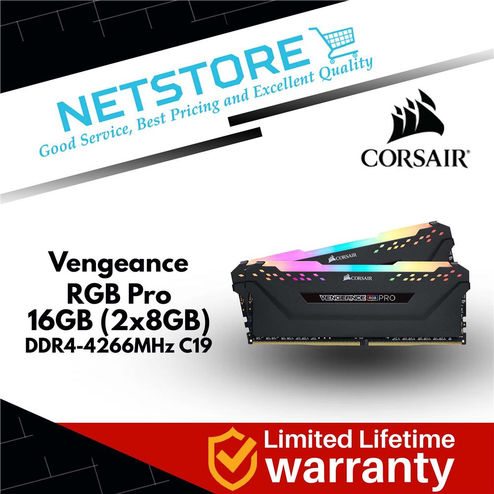 CORSAIR Vengeance RGB Pro 16GB (2 x 8GB) 4266Mhz (PC4 34100) DDR4 RAM