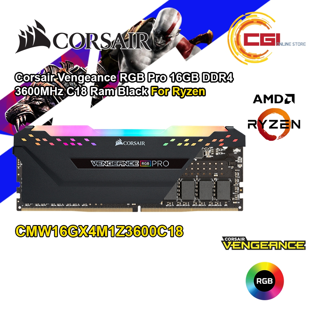 Corsair Vengeance RGB Pro 16GB DDR4 3600MHz C18 DIMM RAM Black for Ryzen (CMW1