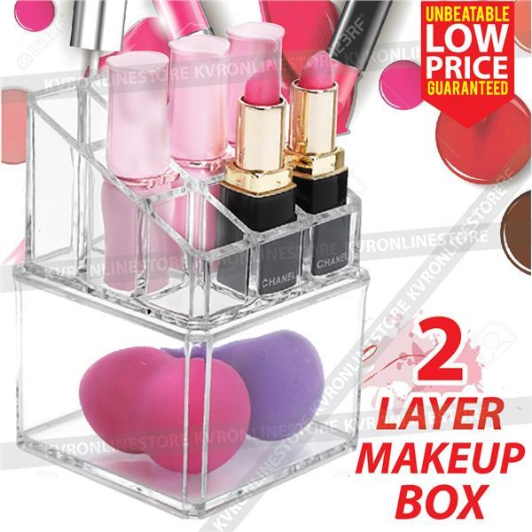 Make Up Cosmetic Storage Box Organizer Clear Acrylic 2 Layer Lipstick. u2039 u203a  sc 1 st  Lelong.my & Make Up Cosmetic Storage Box Organiz (end 1/11/2019 2:15 PM)